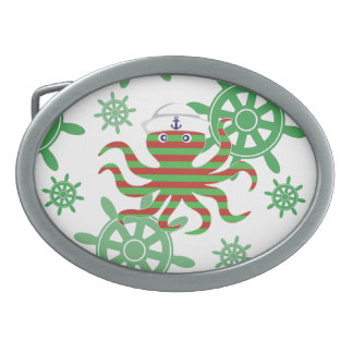 Christmas sailor baby octopus oval belt buckle