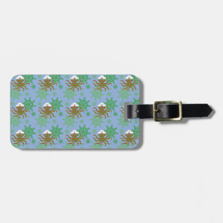 Christmas sailor baby octopus with blue background luggage tag