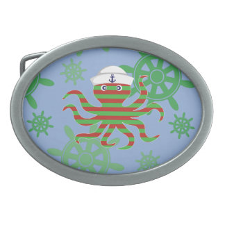 Christmas sailor baby octopus with blue background oval belt buckles