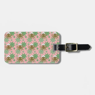 Christmas sailor baby octopus with pink background luggage tag