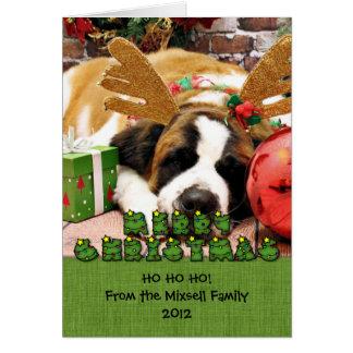 Christmas - Saint Bernard - Blue Card