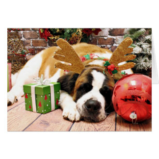 Christmas - Saint Bernard - Blue Greeting Card