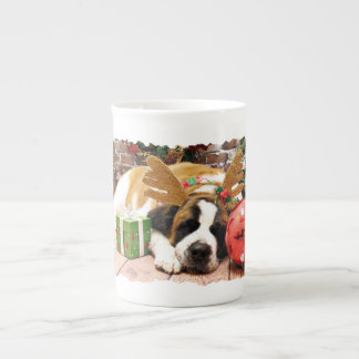 Christmas - Saint Bernard - Blue Porcelain Mugs