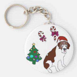 Christmas Saint Bernard dog Keychain
