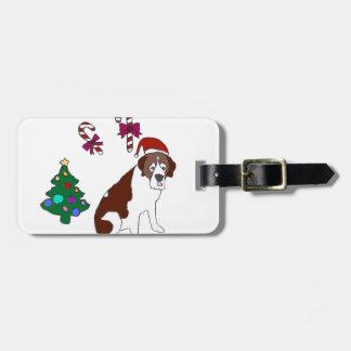 Christmas Saint Bernard dog Luggage Tag