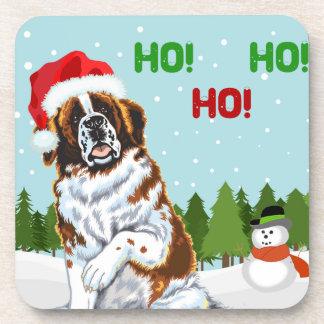 Christmas Saint Bernard Drink Coasters