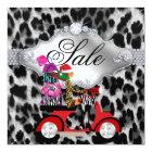 Christmas Sale Party Invite Leopard White Black