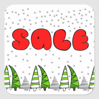 "Christmas ""Sale"" sign with xmas trees decor Square Sticker"
