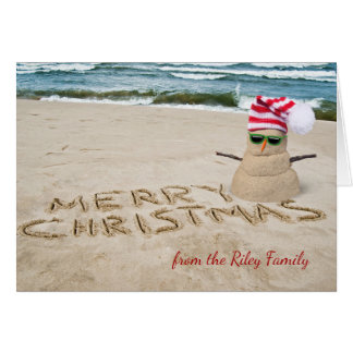 Christmas sandy snowman on beach card