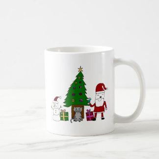 Christmas Santa and Cat Basic White Mug