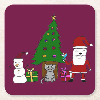 Christmas Santa and Cat Square Paper Coaster