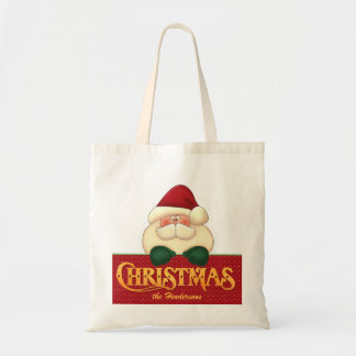 Christmas Santa and Golden Word Art Tote Bag