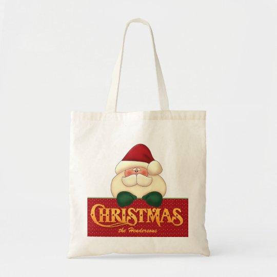 Christmas Santa and Golden Word Art Tote Bag