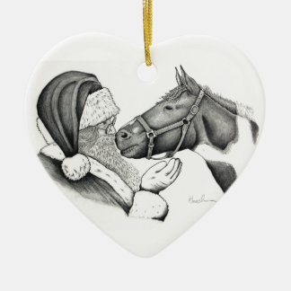 Christmas Santa and Paint Pinto Horse Christmas Ornament