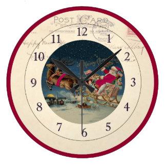 Christmas Santa and Reindeer Clock