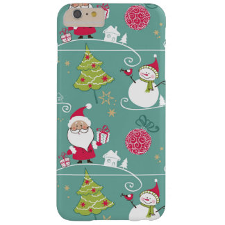 Christmas Santa and snowman pattern Barely There iPhone 6 Plus Case