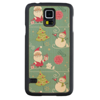 Christmas Santa and snowman pattern Carved Maple Galaxy S5 Case