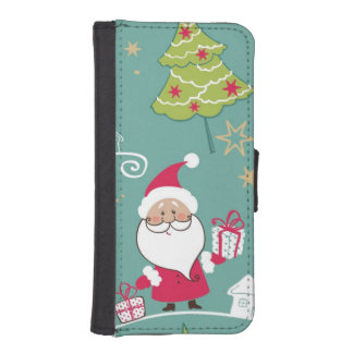 Christmas Santa and snowman pattern iPhone SE/5/5s Wallet Case