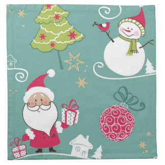 Christmas Santa and snowman pattern Napkin