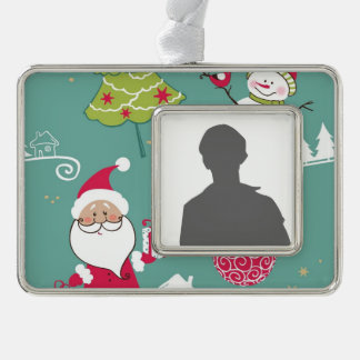 Christmas Santa and snowman pattern Silver Plated Framed Ornament