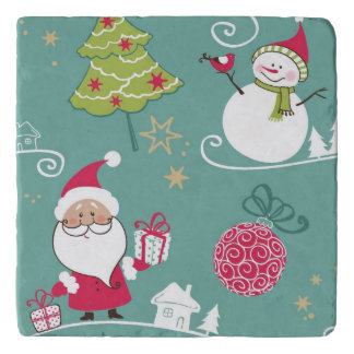 Christmas Santa and snowman pattern Trivet