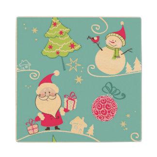 Christmas Santa and snowman pattern Wood Coaster