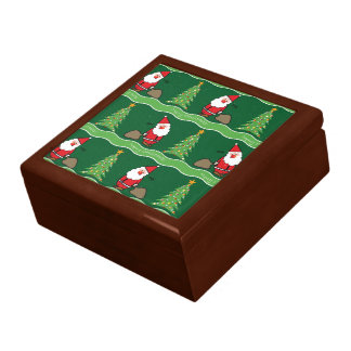 Christmas Santa and Tree On Green, Gift Box