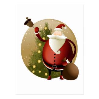Christmas Santa Bell Ringer Postcard