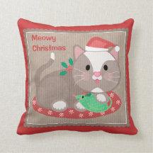 Christmas Santa Cat Throw Pillow