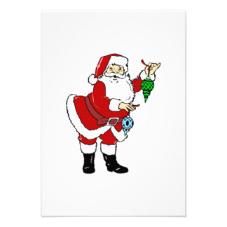 Christmas Santa Claus and Ornaments Personalized Invites
