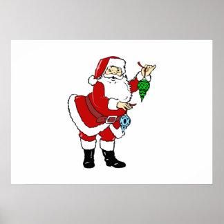 Christmas Santa Claus and Ornaments Poster