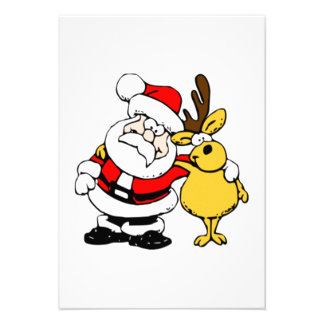 Christmas Santa Claus and Reindeer Invitation