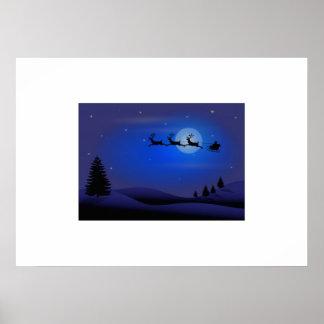 Christmas Santa Claus and Reindeer Print