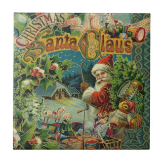Christmas Santa Claus Antique Vintage Victorian Small Square Tile