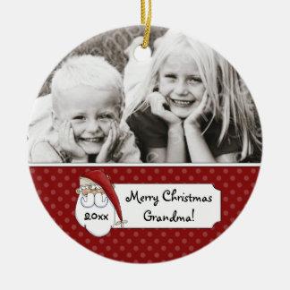 Christmas Santa Claus Grandma Photo Personalized Round Ceramic Decoration