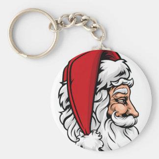 Christmas Santa Claus in Profile Basic Round Button Key Ring