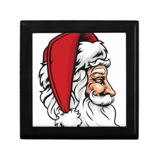 Christmas Santa Claus in Profile Small Square Gift Box