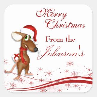 Christmas Santa Claus Mouse Gift Tag