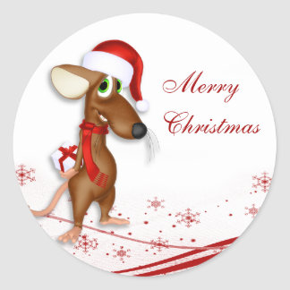 Christmas Santa Claus Mouse Gift Tag Round Sticker