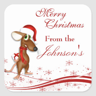 Christmas Santa Claus Mouse Gift Tag Square Sticker