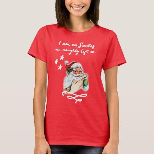 Christmas, Santa Claus Naughty List T-Shirt