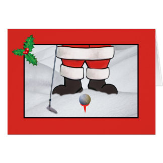 Christmas, Santa Claus Playing Golf in the Snow Card
