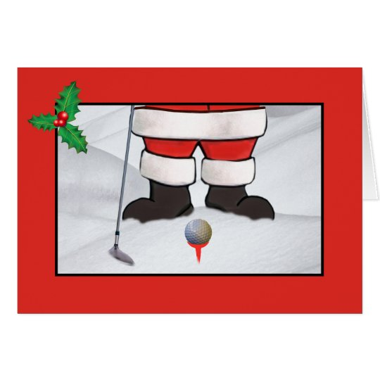 Christmas, Santa Claus Playing Golf in the Snow