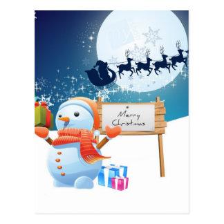 Christmas Santa Claus Snowman Postcard
