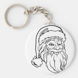 Christmas Santa Claus Vintage Style Basic Round Button Key Ring