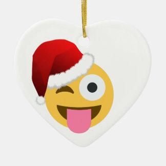 christmas santa claus winking emoji christmas ornament
