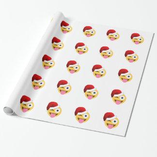 christmas santa claus winking emoji wrapping paper