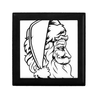 Christmas Santa Claus Woodcut Style Small Square Gift Box