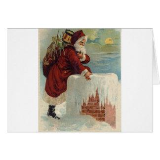Christmas -  Santa Coming Down the Chimney Greeting Card