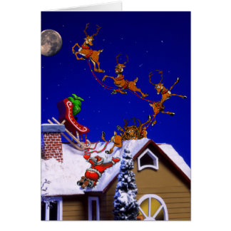 Christmas - Santa crashed on the rooftop Cards